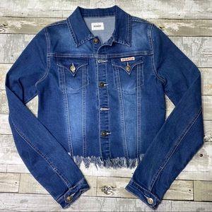 Hudson fringe distressed cropped jean jacket